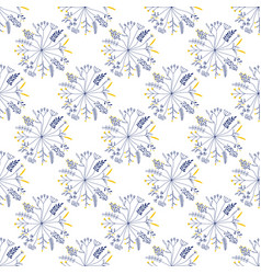 seamless pattern with rund shaped flowers vector image