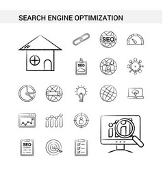 Search engine optimization hand drawn icon set vector