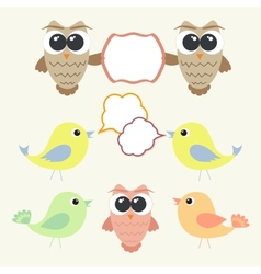 set owls and birds with speech bubbles vector image