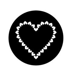 silhouette valentine day heart decorative vector image