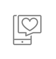 Smartphone with heart in speech bubble line icon vector