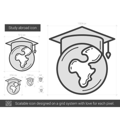 Study abroad line icon vector