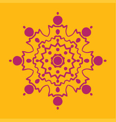 stylized snowflake icon of purple color on yellow vector image