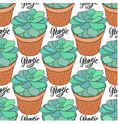 succulents seamless pattern home decoration vector image