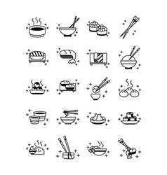 sushi oriental menu icons set line style icon vector image