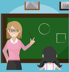 teacher giving a class to school girl vector image