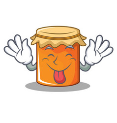 Tongue out jam mascot cartoon style vector