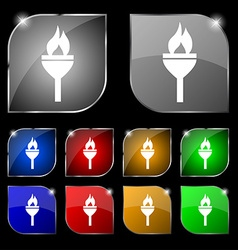 Torch icon sign Set of ten colorful buttons with vector image
