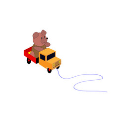 toys bear sits in the back of a toy truck vector image