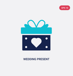 two color wedding present icon from birthday vector image