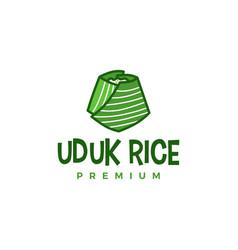 uduk rice on banana leaf logo icon vector image