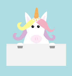 Unicorn head face hanging on paper board template vector