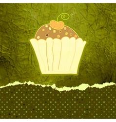 Vintage cupcakes birthday card vector image