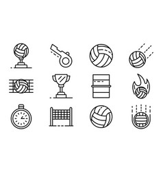 volleyball icons set outline style vector image