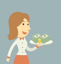 Waiter holding money vector