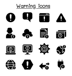 warning caution danger notification icon set vector image