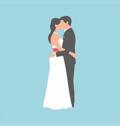 wedding couple on blue background vector image
