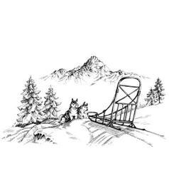 Winter mountain landscape husky dogs sledding vector