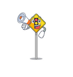 With megaphone traffic light ahead on cartoon vector