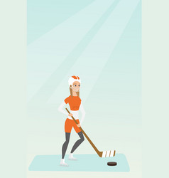 Young caucasian ice hockey player vector
