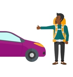 Young man hitchhiking vector image