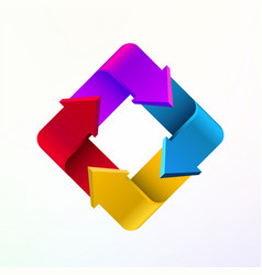 colorful arrows in form of rectangle logo company vector image vector image