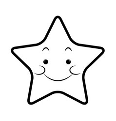 cute kawaii star face emoticon character vector image