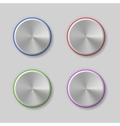 Four Volume Control Dial Button with Color Light vector image