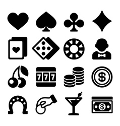 Gambling Casino Icons Set on White Background vector image