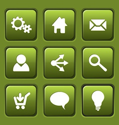Set of green web square buttons vector image vector image