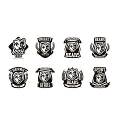 a set of logos emblems a growling bear vector image vector image