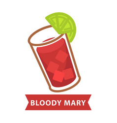 bloody mary with ice and slice of lime in glass vector image vector image