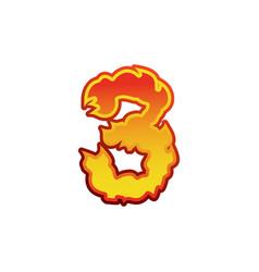Number 3 fire flames font three tattoo alphabet vector