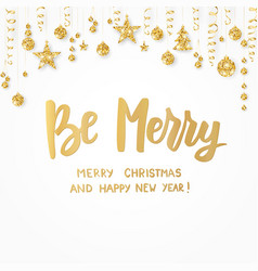 be merry happy new year and merry christmas text vector image