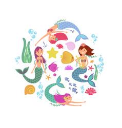 cartoon swimming mermaids and sea underwater vector image vector image
