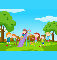 children playing slide in park vector image