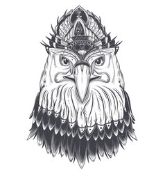 eagle head with feather comb vector image