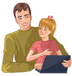 Father and daughter working with laptop vector image