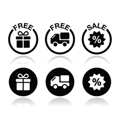 Free gift free delivery sale icons set vector image