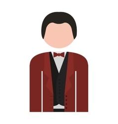 Half body man formal suit bowtie vector