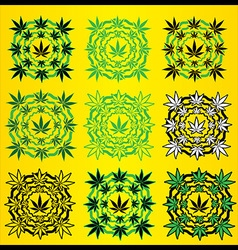 Marijuana leaves geometric design stamps vector image