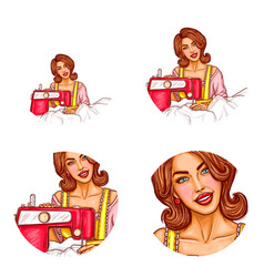 pop art avatar of woman dressmaker for chat vector image
