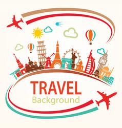 world travel landmarks silhouettes icons set vector image vector image