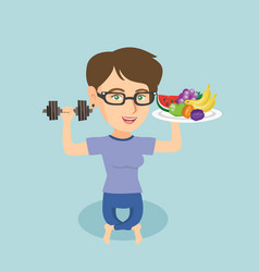 young caucasian woman with fruits and dumbbell vector image vector image
