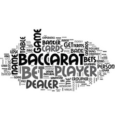 basic baccarat terms text word cloud concept vector image