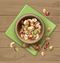 Different nuts in bowl vector