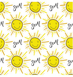 doodle hand drawn seamless pattern with sun funny vector image vector image