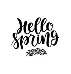 hello spring postcard seasonal lettering ink vector image