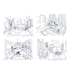 modern living room interior set furnished drawing vector image
