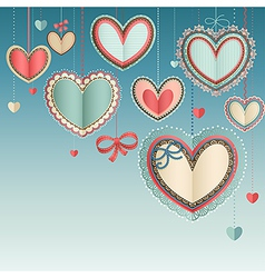 paper hearts in the sky vector image vector image